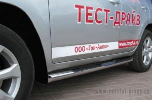 TOYOTA RAV 4 2009-(обычная база) Пороги труба d76 с накладками (вариант 1) TRT-0001511